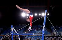 <p>TOKYO, JAPAN - JULY 27: Grace McCallum of Team United States competes in the uneven bars during the Women's Team Final on day four of the Tokyo 2020 Olympic Games at Ariake Gymnastics Centre on July 27, 2021 in Tokyo, Japan. (Photo by Laurence Griffiths/Getty Images)</p>