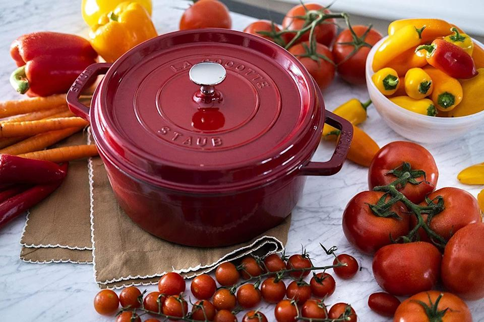 "<p><strong>Staub</strong></p><p>amazon.com</p><p><strong>$119.95</strong></p><p><a href=""https://www.amazon.com/dp/B003G65YQ0?tag=syn-yahoo-20&ascsubtag=%5Bartid%7C10057.g.34745334%5Bsrc%7Cyahoo-us"" rel=""nofollow noopener"" target=""_blank"" data-ylk=""slk:BUY NOW"" class=""link rapid-noclick-resp"">BUY NOW</a></p><p>A great piece of cast-iron is the gift that keeps on giving. Not only can this cookware distribute heat more evenly and efficiently, but it can also add some extra flavor to your meal. Staub's four-quart cocotte usually costs $400, but Amazon's selling it for just under $100. <em>Wow</em>. </p>"