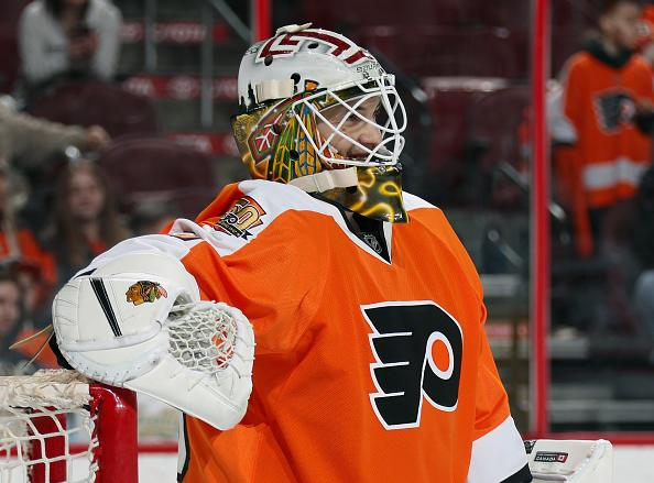 PHILADELPHIA, PA - APRIL 01: Emergency backup goaltender Eric Semborski of the Philadelphia Flyers, wearing #49, looks on during a stoppage in play late in the third period against of the New Jersey Devils on April 1, 2017 at the Wells Fargo Center in Philadelphia, Pennsylvania. The Flyers went on to defeat the Devils 3-0. (Photo by Len Redkoles/NHLI via Getty Images)