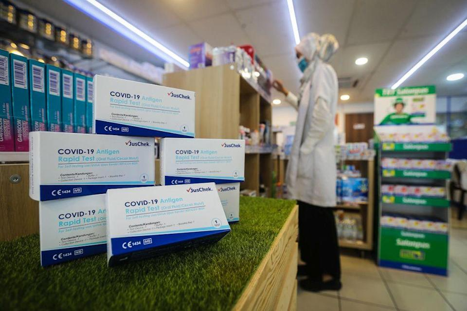 JusChek Covid-19 rapid antigen self-test kits are displayed for sale at a pharmacy in Shah Alam September 2, 2021. — Picture by Yusof Mat Isa