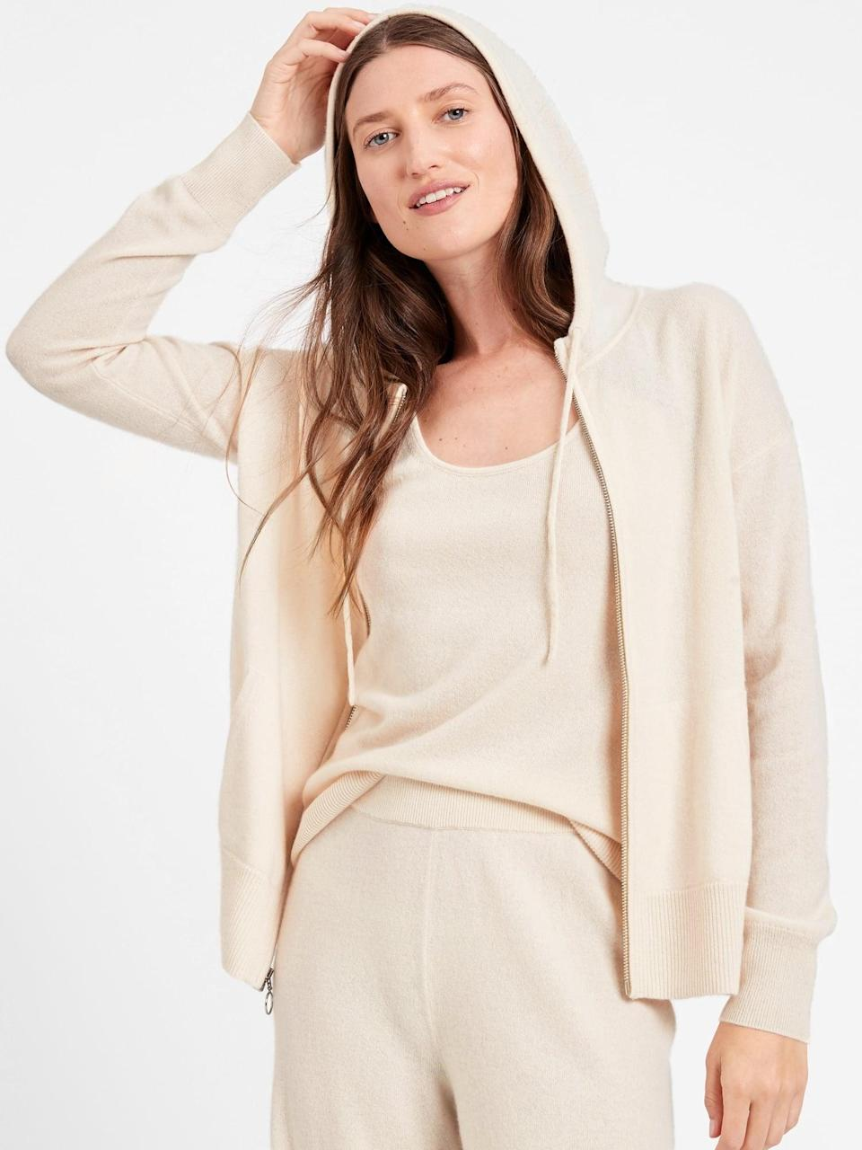 <p>This <span>Cashmere Sweater Zip Hoodie</span> ($248) is an investment you'll treasure for years. It looks luxe, soft and ultra-comfortable.</p>