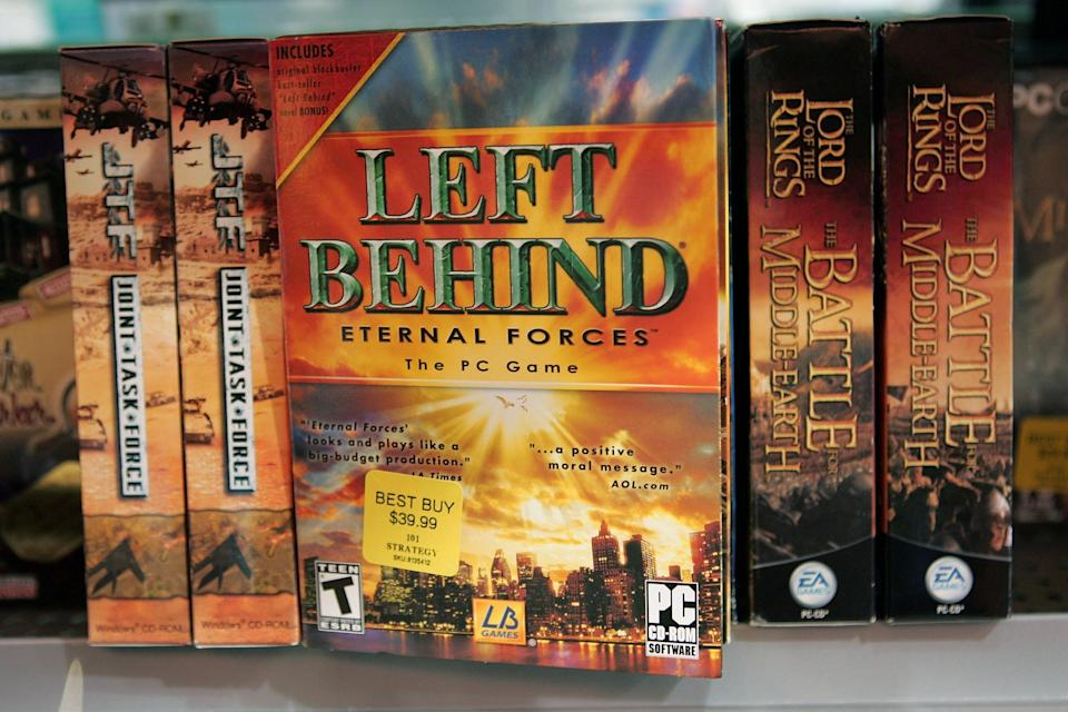 """Copies of """"Left Behind: Eternal Forces"""" video games, which are based on a popular series of Christian novels about the apocalypse. (Photo: Scott Olson via Getty Images)"""