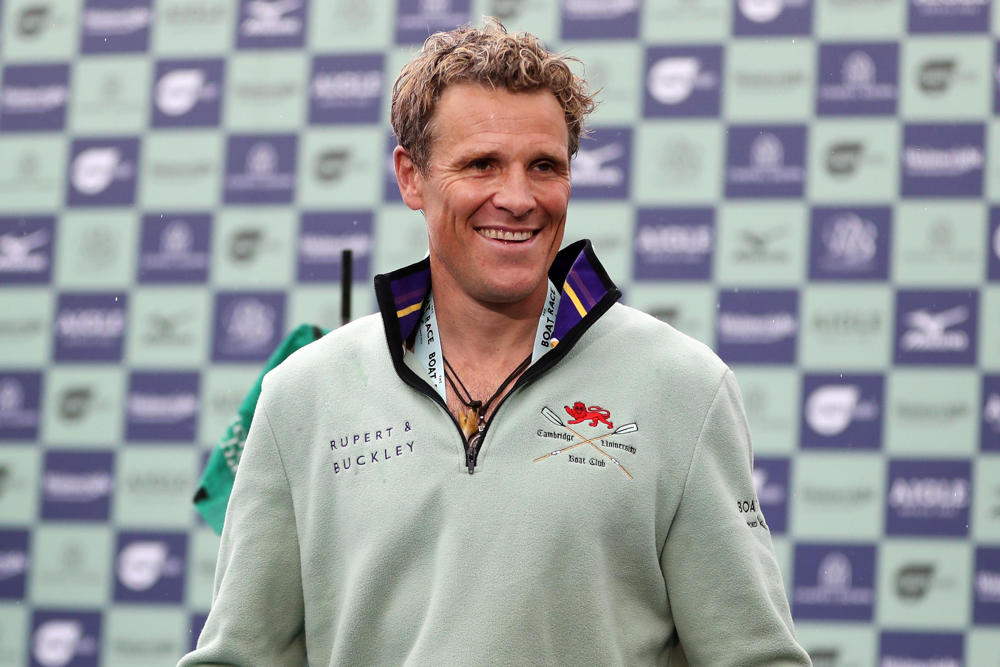 LONDON, ENGLAND - APRIL 07: James Cracknell of Cambridge University Boat Club celebrates on the victory podium after his team win during The Boat Race 2019 on April 07, 2019 in London, England. (Photo by Naomi Baker/Getty Images)