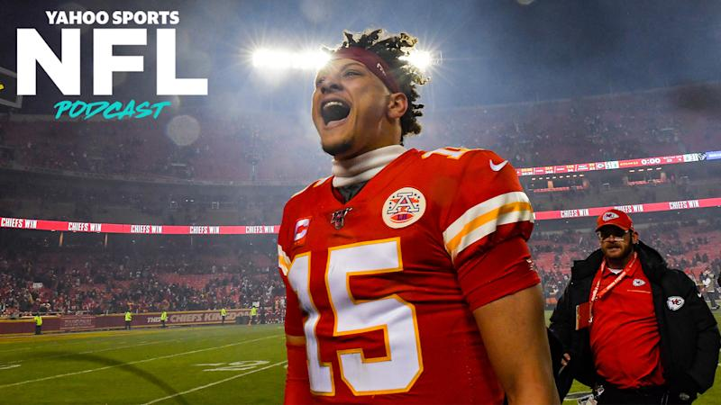 Kansas City Chiefs QB Patrick Mahomes celebrates after a white-knuckle victory over the Houston Texans on Sunday. (Rich Sugg/Kansas City Star/Tribune News Service via Getty Images)