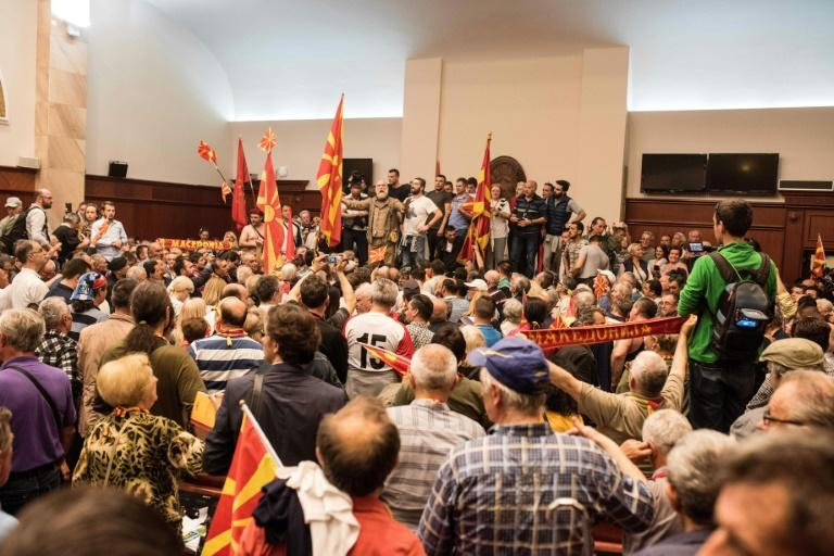 Demonstrators stormed Macedonia's parliament to protest against against what they said was an unfair vote to elect a parliamentary speaker, following months of political deadlock