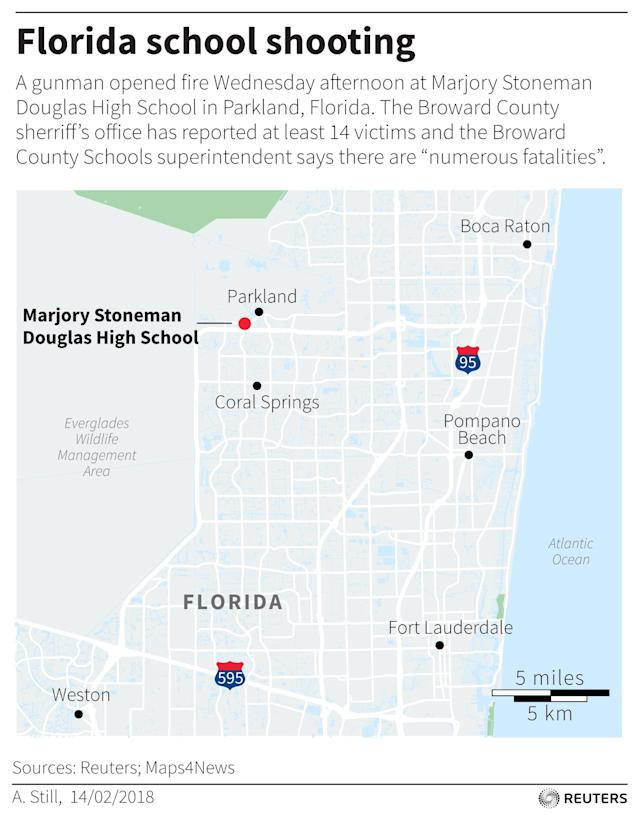 <p>A gunman opened fire Wednesday afternoon at Marjory Stoneman Douglas High School in Parkland, Fla. on Feb. 14, 2018. (Reuters) </p>