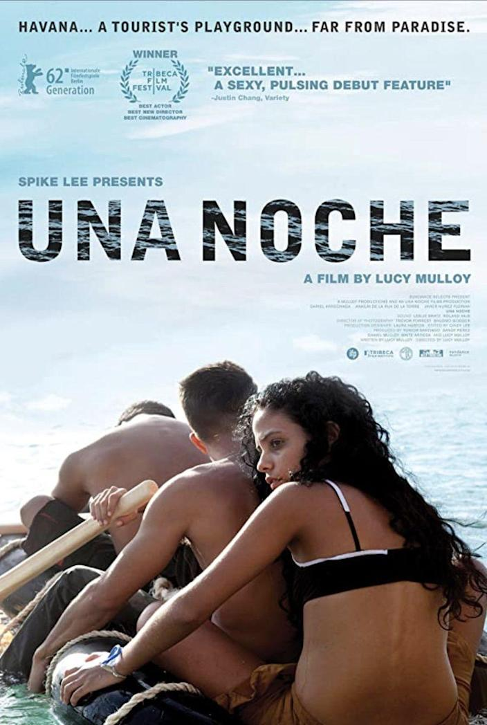 """<p>Set in Havana, Cuba, Raúl (<a href=""""https://www.imdb.com/name/nm4884029/"""" rel=""""nofollow noopener"""" target=""""_blank"""" data-ylk=""""slk:Dariel Arrechaga"""" class=""""link rapid-noclick-resp""""><strong>Dariel Arrechaga</strong></a>) dreams about leaving for Miami. When he's accused of assaulting a tourist, he convinces his best friend, Elio (<a href=""""https://www.imdb.com/name/nm4884095/"""" rel=""""nofollow noopener"""" target=""""_blank"""" data-ylk=""""slk:Javier Nuñez Florián"""" class=""""link rapid-noclick-resp""""><strong>Javier Nuñez Florián</strong></a>), to help him escape to the U.S. But Elio is torn between helping Raúl and staying behind with his twin sister, Lila (<strong><a href=""""https://www.imdb.com/name/nm4884137/"""" rel=""""nofollow noopener"""" target=""""_blank"""" data-ylk=""""slk:Anailín de la Rúa de la Torre"""" class=""""link rapid-noclick-resp"""">Anailín de la Rúa de la Torre</a></strong>). In the end, the three decide to make the 90-mile journey across the ocean together on a raft made of tires. But it doesn't go the way they planned.</p><p><a class=""""link rapid-noclick-resp"""" href=""""https://www.amazon.com/Una-Noche-Dariel-Arrechaga/dp/B00ESB6RIQ?tag=syn-yahoo-20&ascsubtag=%5Bartid%7C10055.g.35564148%5Bsrc%7Cyahoo-us"""" rel=""""nofollow noopener"""" target=""""_blank"""" data-ylk=""""slk:STREAM NOW"""">STREAM NOW</a></p>"""