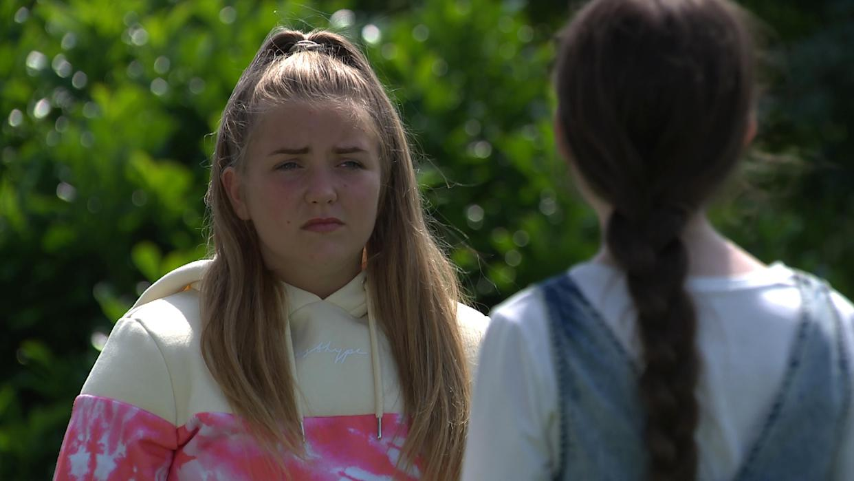 FROM ITV  STRICT EMBARGO Print media - No Use Before Tuesday Tuesday 7th September 2021 Online Media - No Use Before 0700hrs  Tuesday 7th September  2021  Emmerdale - 9152  Wednesday 15th September 2021  April Windsor [AMELIA FLANAGAN] is shocked when Cathy Hope [GABRIELLE DOWLING] tries breaks down and reveals she started the online trolling. April is incredulous at CathyÕs confession and heads off, irate, leaving Cathy terrified of the consequences to come.   Picture contact David.crook@itv.com   This photograph is (C) ITV Plc and can only be reproduced for editorial purposes directly in connection with the programme or event mentioned above, or ITV plc. Once made available by ITV plc Picture Desk, this photograph can be reproduced once only up until the transmission [TX] date and no reproduction fee will be charged. Any subsequent usage may incur a fee. This photograph must not be manipulated [excluding basic cropping] in a manner which alters the visual appearance of the person photographed deemed detrimental or inappropriate by ITV plc Picture Desk. This photograph must not be syndicated to any other company, publication or website, or permanently archived, without the express written permission of ITV Picture Desk. Full Terms and conditions are available on  www.itv.com/presscentre/itvpictures/terms