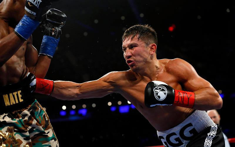 Golovkin hits Jacobs with a body shot