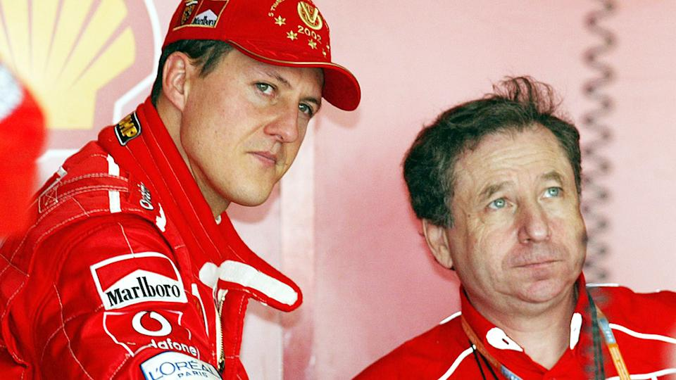 Michael Schumacher and Jean Todt, pictured here at the Japanese Grand Prix in 2002.