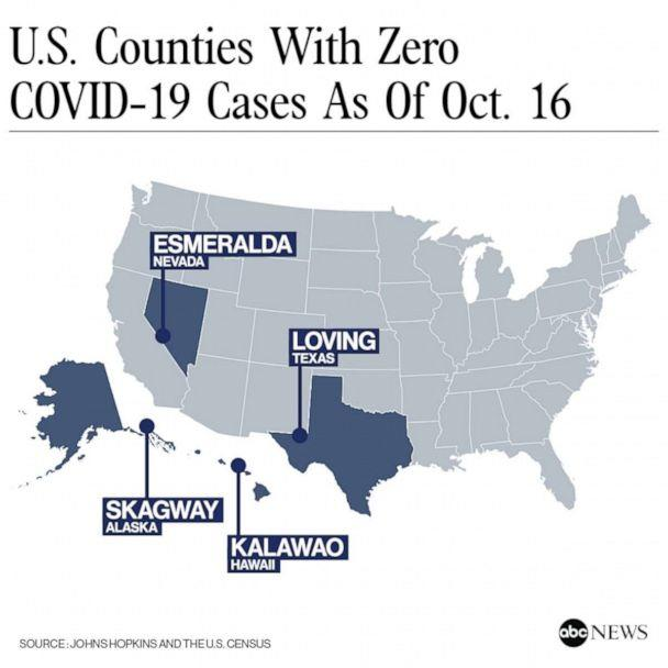 U.S. Counties with Zero COVID-19 Cases as of Oct.16 (Johns Hopkins and the U.S. Census)