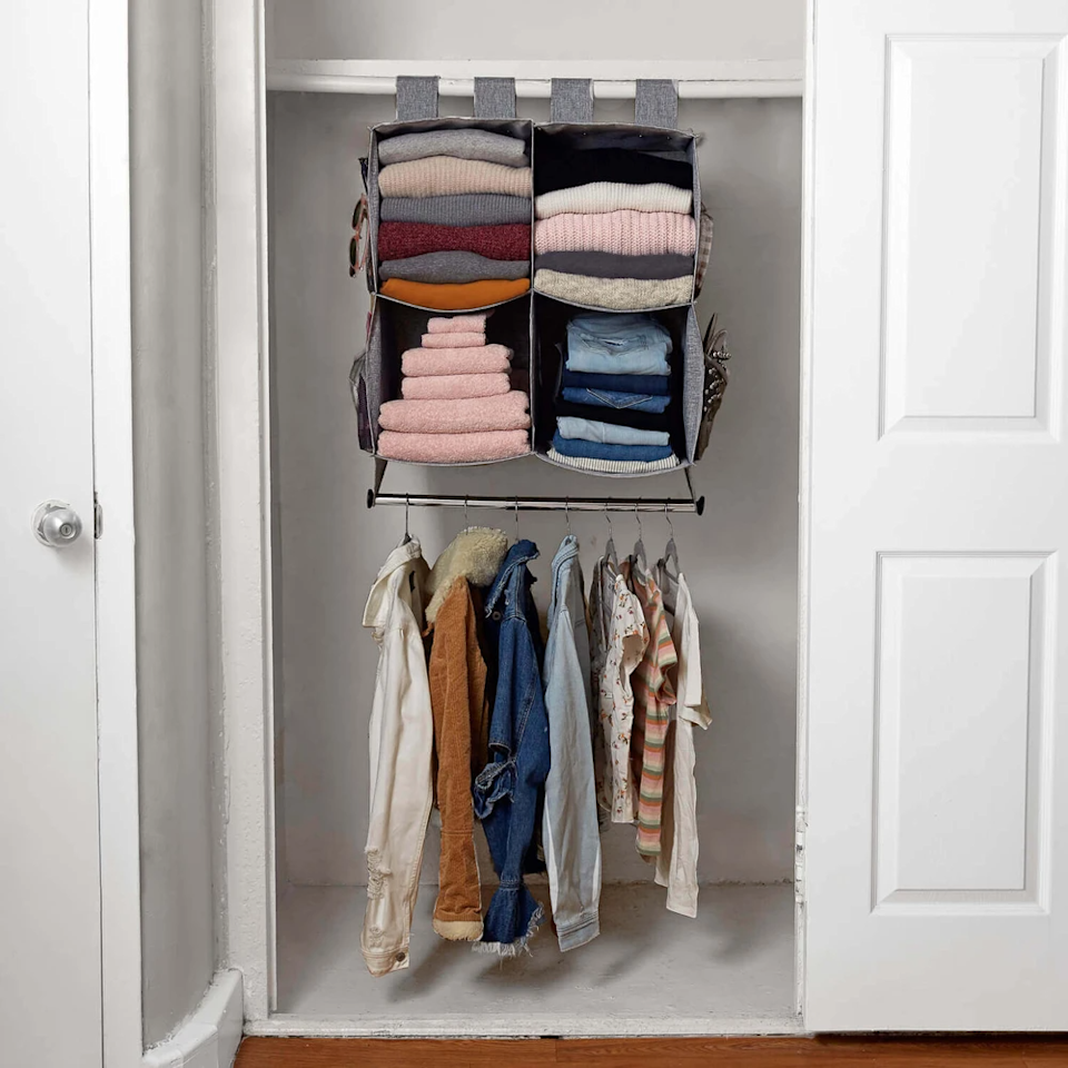 """<h2>Invest In A Set That Does It All<br></h2><br>To keep things in order across all corners of an out-of-control closet, consider starting with a full set. This cloth hanging system does it all with cube organizers, a hanging bar, and built-in mesh compartments for shoes, accessories, and anything else that might be calling your floor home right now. <br><br><strong>Dormify</strong> Cube Closet Organizer With Hanging Rod, $, available at <a href=""""https://go.skimresources.com/?id=30283X879131&url=https%3A%2F%2Fwww.dormify.com%2Fproducts%2Fcube-closet-organizer-with-hanging-rod"""" rel=""""nofollow noopener"""" target=""""_blank"""" data-ylk=""""slk:Dormify"""" class=""""link rapid-noclick-resp"""">Dormify</a>"""