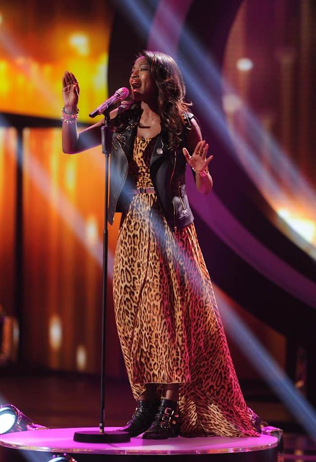 "Amber Holcomb performs Kelly Clarkson's ""A Moment Like This"" on the Wednesday, March 13 episode of ""American Idol."""