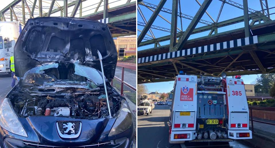 Pictures of the damaged car bonnet and a fire truck that helped extinguish the blaze.