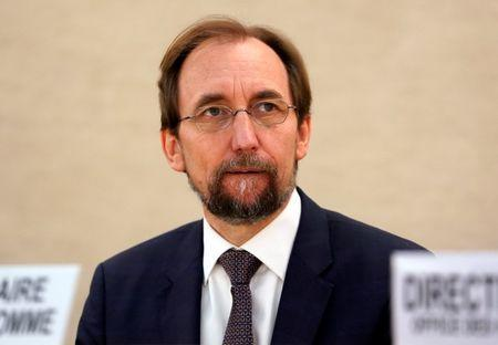 Zeid outgoing United Nations High Commissioner for Human Rights attends the Human Rights Council in Geneva