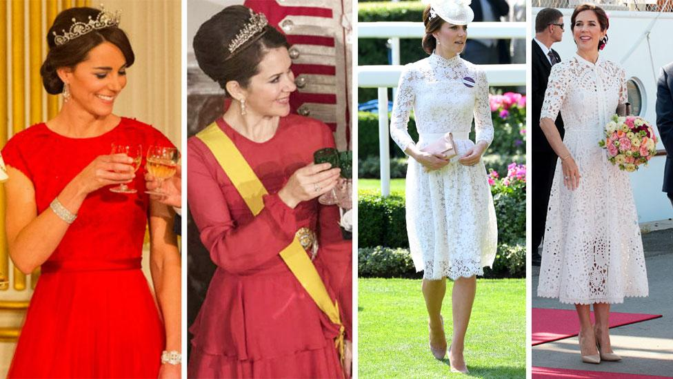 <p>The Duchess of Cambridge Kate Middleton and Princess Mary of Denmark have become known as the unofficial 'royal sisters' for their similar looks and almost identical fashion sense. Source: Getty / Mega </p>