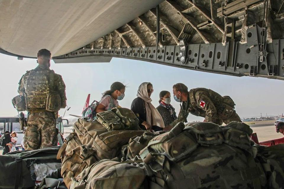 British citizens and dual nationals board a RAF flight out of Kabul (LPhot Ben Shread/MoD/PA) (PA Media)