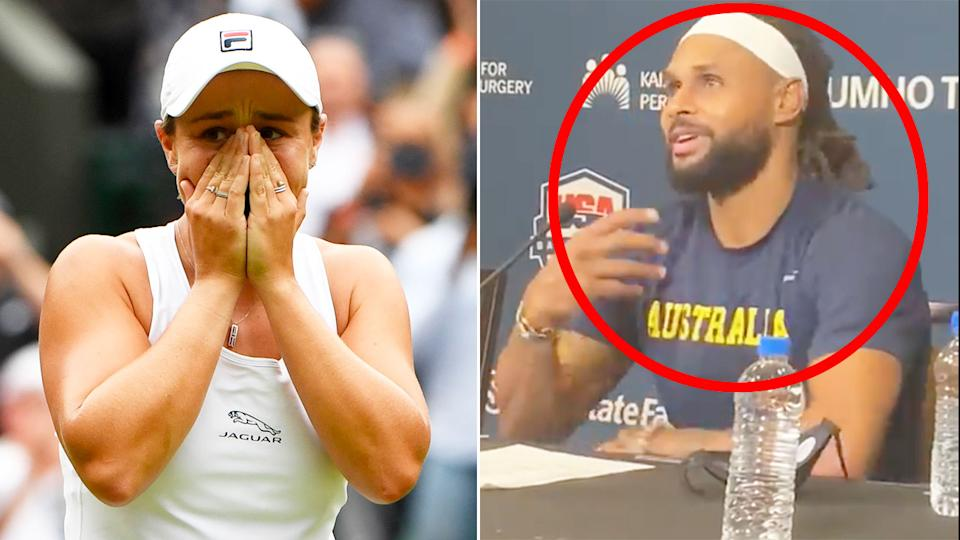 Pictured right, Patty Mills discusses Ash Barty's epic Wimbledon triumph.