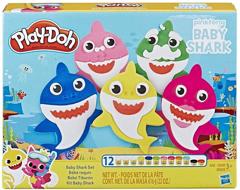 """<p>Have little ones who refuse to stop singing """"Baby Shark""""? Us too! But this <a href=""""https://www.popsugar.com/buy/Pinkfong-Baby-Shark-Play-Doh-Set-511968?p_name=Pinkfong%20Baby%20Shark%20Play-Doh%20Set&retailer=amazon.com&pid=511968&price=10&evar1=moms%3Aus&evar9=45808433&evar98=https%3A%2F%2Fwww.popsugar.com%2Fphoto-gallery%2F45808433%2Fimage%2F45808442%2FChannel-Some-Creativity&list1=toy%20fair%2Ckid%20shopping&prop13=api&pdata=1"""" class=""""link rapid-noclick-resp"""" rel=""""nofollow noopener"""" target=""""_blank"""" data-ylk=""""slk:Pinkfong Baby Shark Play-Doh Set"""">Pinkfong Baby Shark Play-Doh Set</a> ($10) puts a creative spin on the tune. Children 4 and up can look for the kit.</p>"""