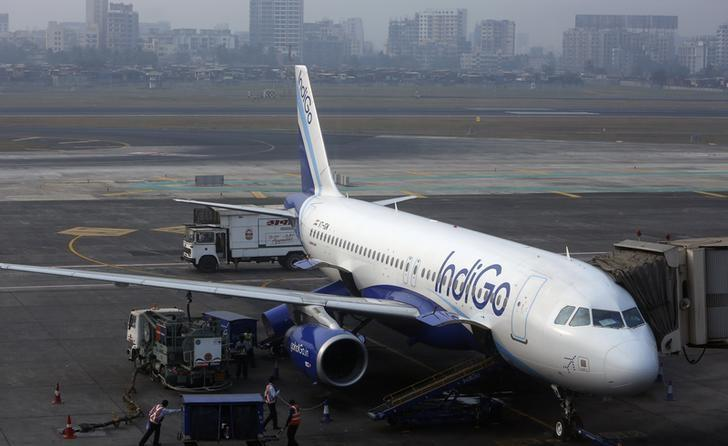 An IndiGo Airlines Airbus A320 aircraft is pictured parked at a gate at Mumbai's Chhatrapathi Shivaji International Airport