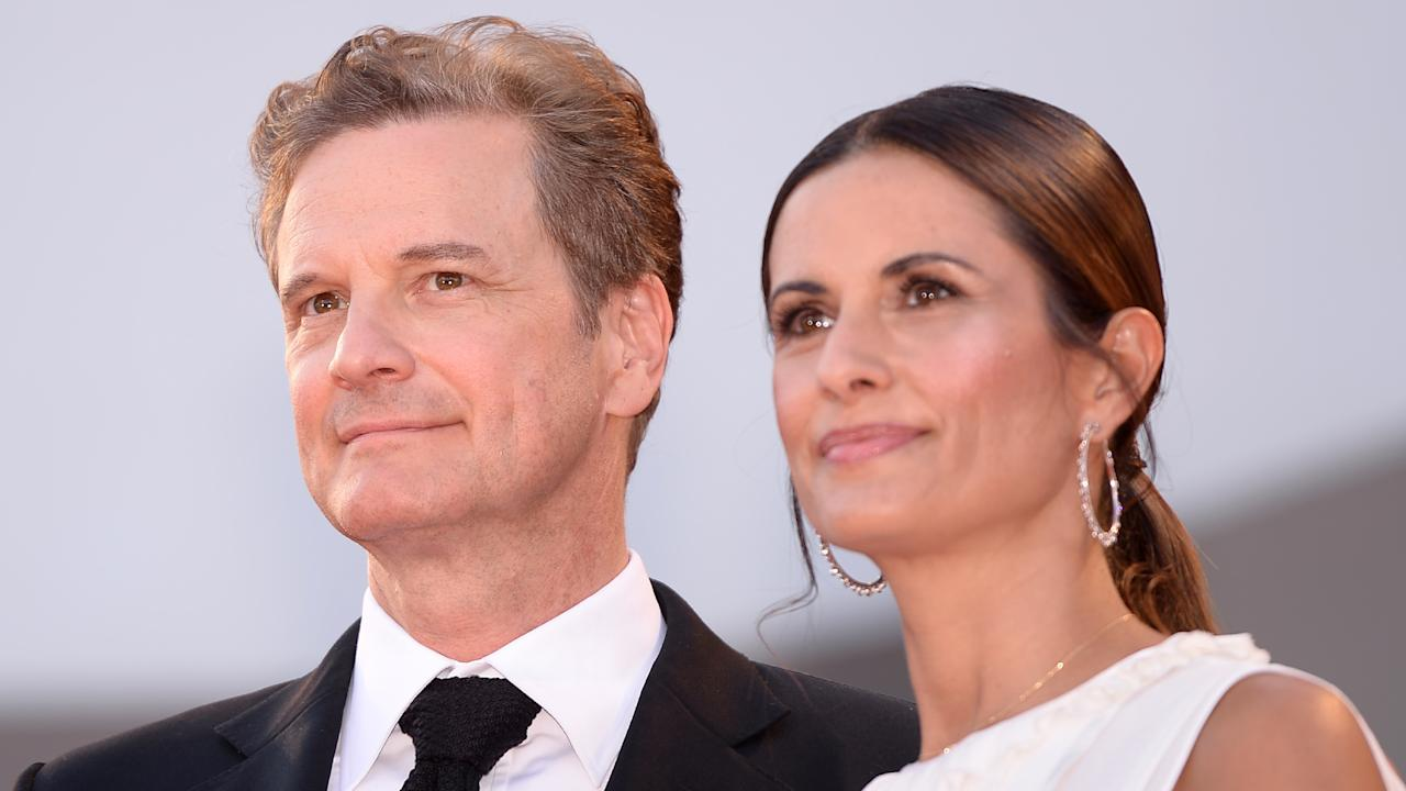 """Actor Colin Firth and his wife Livia Giuggioli arrive for the premiere of the movie """"Nocturnal Animals"""" presented in competition at the 73rd Venice Film Festival on September 2, 2016 at Venice Lido. / AFP / FILIPPO MONTEFORTE        (Photo credit should read FILIPPO MONTEFORTE/AFP/Getty Images)"""