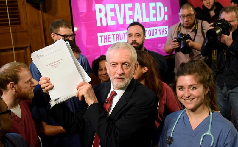 FILE PHOTO: Jeremy Corbyn speaks during a general election campaign event in London