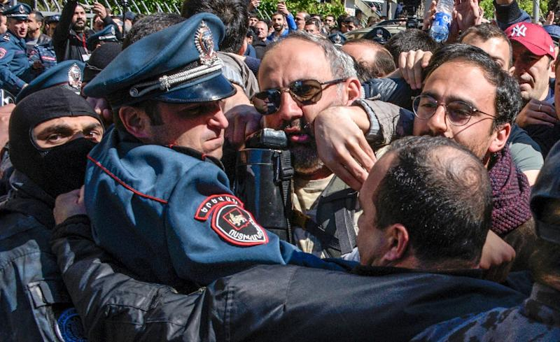Authorities beefed up the police presence and put in place cordons which some protesters broke through (AFP Photo/KAREN MINASYAN)