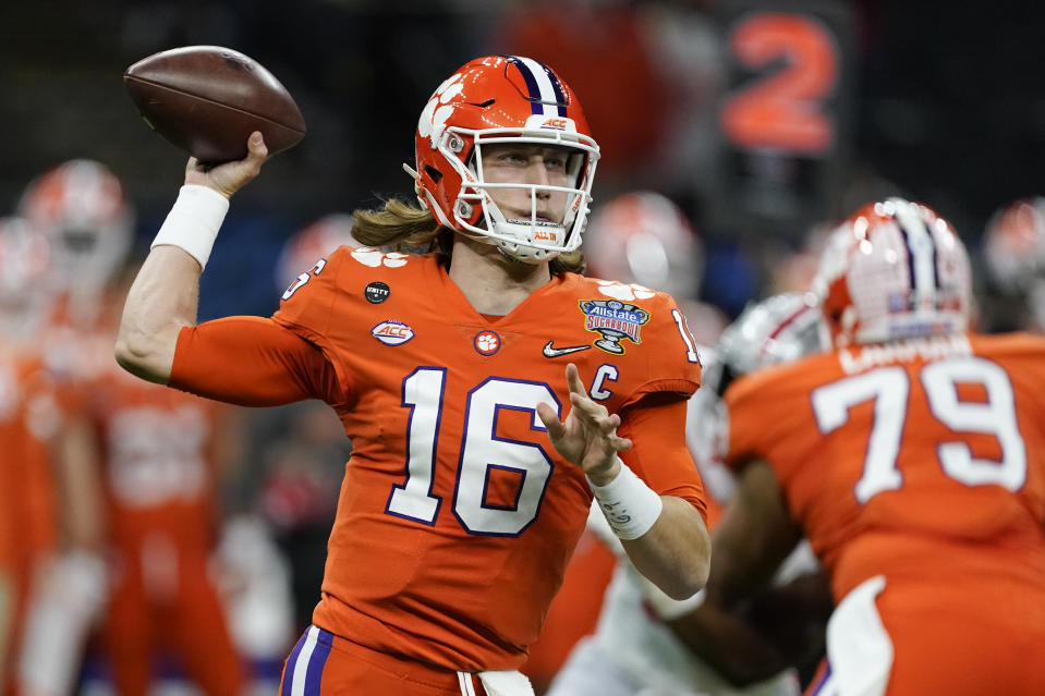Clemson QB Trevor Lawrence passes against Ohio State during the first half of the Sugar Bowl on Jan. 1. (AP)