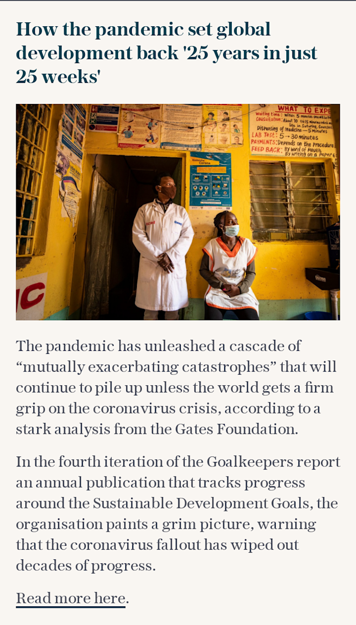 How the pandemic set global development back '25 years in just 25 weeks'