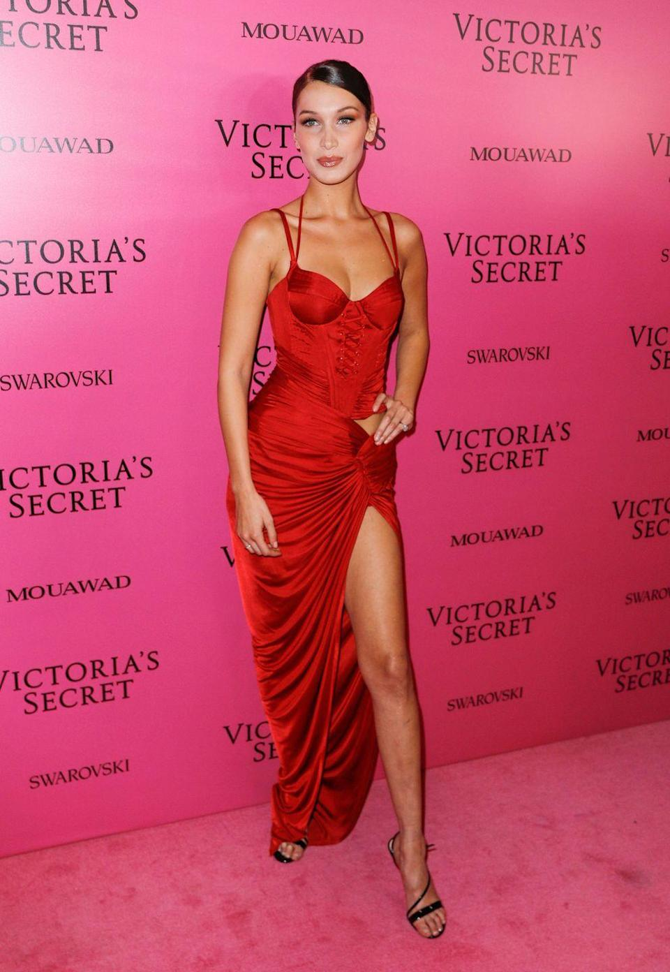<p>She wore red again in Alexandre Vauthier for the VS afterparty, November 2017.</p>