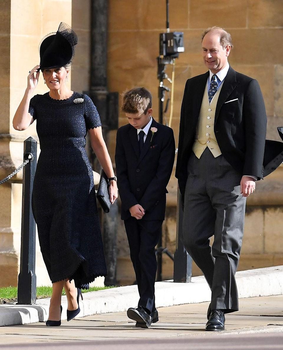 """<p>Sophie, the Countess of Wessex, wore a simple navy blue dress paired with matching heels and a fascinator while attending <a href=""""https://www.townandcountrymag.com/society/tradition/a15841755/princess-eugenie-jack-brooksbank-wedding/"""" rel=""""nofollow noopener"""" target=""""_blank"""" data-ylk=""""slk:Princess Eugenie's wedding"""" class=""""link rapid-noclick-resp"""">Princess Eugenie's wedding</a> at St. George's Chapel.</p>"""