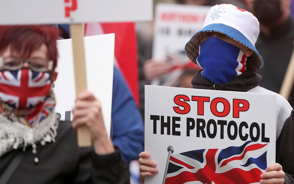 Loyalists rally against the Northern Ireland Protocol in Belfast - Declan Roughan / Press Eye