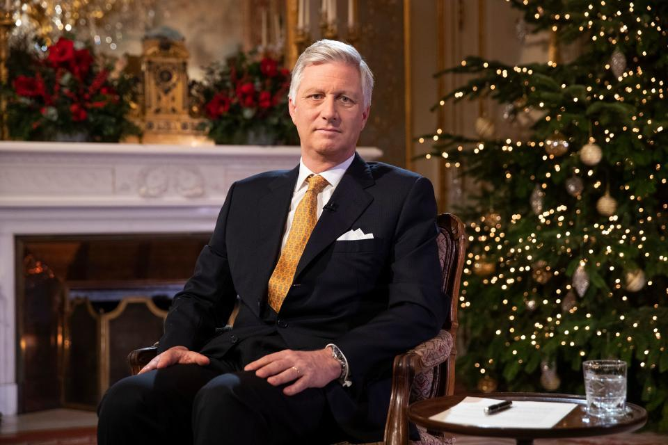 In this photograph taken on December 18, 2019, King Philippe of Belgium gestures as he delivers his yearly Christmas message at The Royal Palace in Brussels. (Photo by Francisco SECO / various sources / AFP) / Belgium OUT (Photo by FRANCISCO SECO/POOL/AFP via Getty Images)