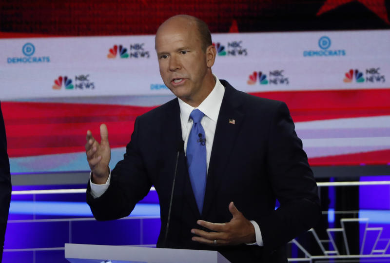 Former U.S. Rep. John Delaney speaks during the first U.S. 2020 presidential election Democratic candidates debate in Miami, Florida, U.S., June 26, 2019. REUTERS/Mike Segar