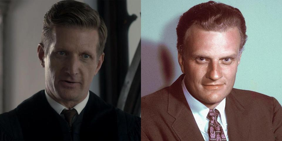 """<p>Paul Sparks is Billy Graham, the American evangelist whose sermons, which were widely broadcasted on TV and radio, eventually caught the attention of Queen Elizabeth II. In 1997, Graham <a href=""""https://billygraham.org/story/billy-graham-and-the-queen/"""" rel=""""nofollow noopener"""" target=""""_blank"""" data-ylk=""""slk:wrote in his autobiography"""" class=""""link rapid-noclick-resp"""">wrote in his autobiography</a>, """"No one in Britain has been more cordial toward us than Her Majesty Queen Elizabeth II. Almost every occasion I have been with her has been in a warm, informal setting, such as a luncheon or dinner, either alone or with a few family members or other close friends."""" </p>"""