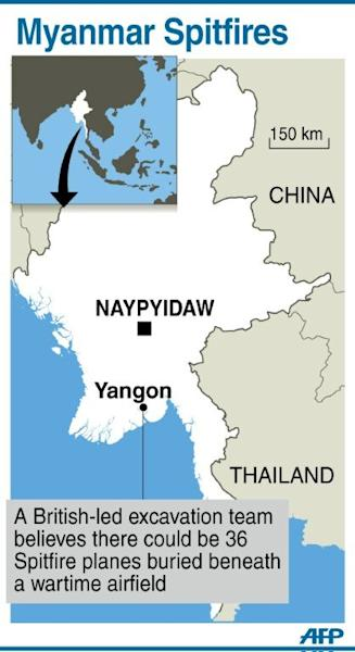 Graphic showing Yangon, where up to 36 Spifire planes could be buried in a wartime field, according to a British-led excavation team