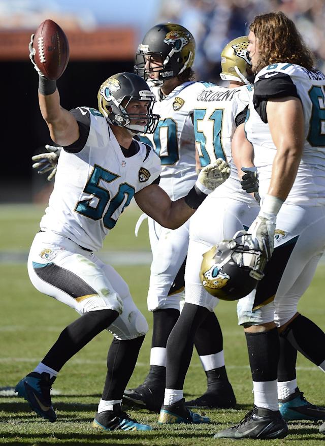 Jacksonville Jaguars linebacker Russell Allen (50) celebrates after recovering a fumble against the Tennessee Titans in the second quarter of an NFL football game on Sunday, Nov. 10, 2013, in Nashville, Tenn. (AP Photo/Mark Zaleski)