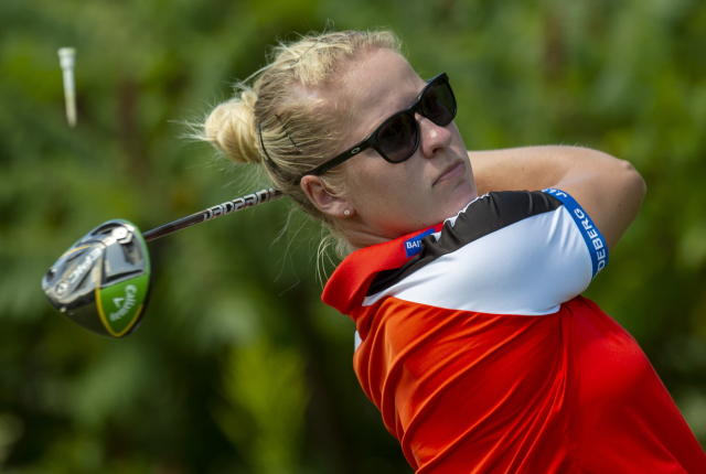 Nicole Broch Larsen of Denmark watches her tee shot on the ninth hole during the final round of the CP Women's Open in Aurora, Ontario, Sunday, Aug. 25, 2019. (Frank Gunn/The Canadian Press via AP)