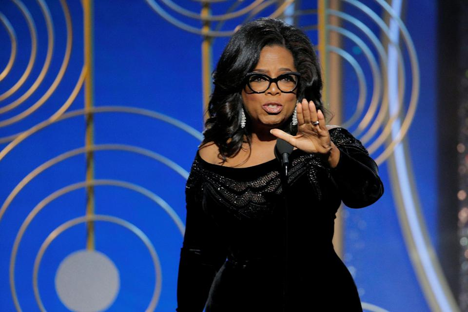 Oprah Winfrey speaks after accepting the Cecil B. Demille Award at the 75th Golden Globe Awards in Beverly Hills, Calif., on Jan. 7, 2018. (Photo: Paul Drinkwater/Courtesy of NBC)