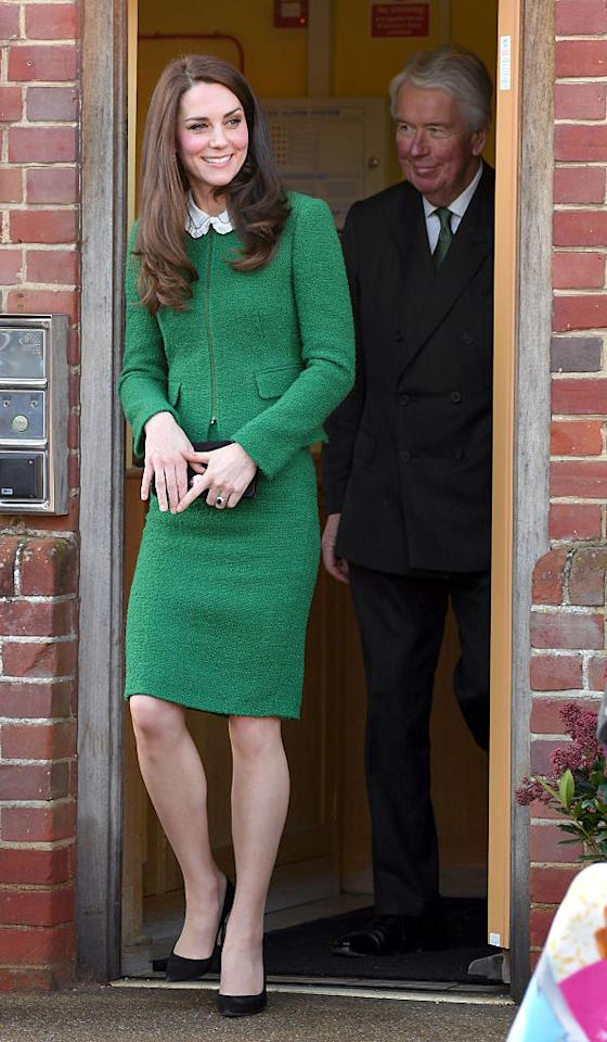 <p>On the 24th of January, Kate Middleton visited East Anglia's Children's Hospice in Norfolk. She donned a green skirt suit by Hobbs for the occasion and accessorised with Gianvito Rossi heels and Kiki McDonough earrings. <em>[Photo: Getty]</em> </p>