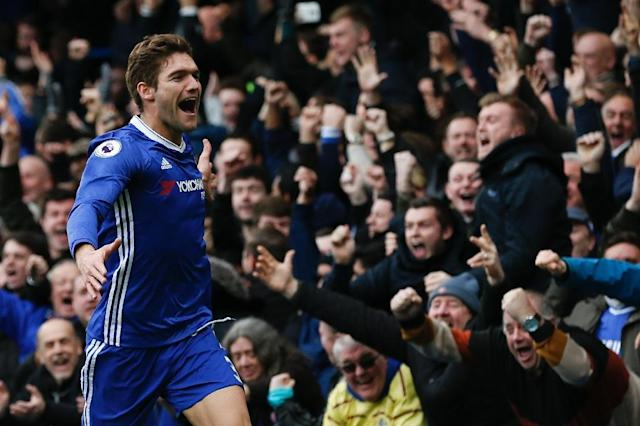 Chelsea's Marcos Alonso celebrates after scoring the opening goal in the 3-1 Premier League win over Arsenal at Stamford Bridge in London, on February 4, 2017 (AFP Photo/Ian KINGTON)
