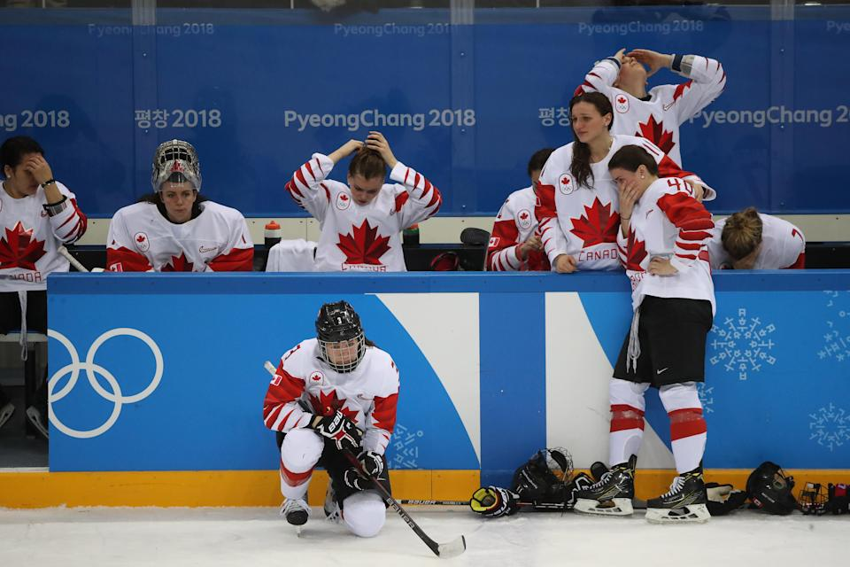 <p>Canada loses in a shootout to the United States in the Olympic women's hockey gold medal game at the Gangneung Hockey Centre in Gangneung in Pyeongchang in South Korea. February 22, 2018. (Steve Russell/Toronto Star via Getty Images) </p>