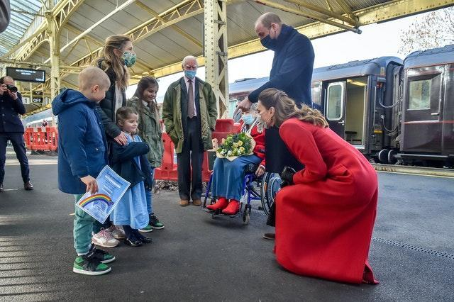 Duke and Duchess of Cambridge meeting with Otto Warner and his family