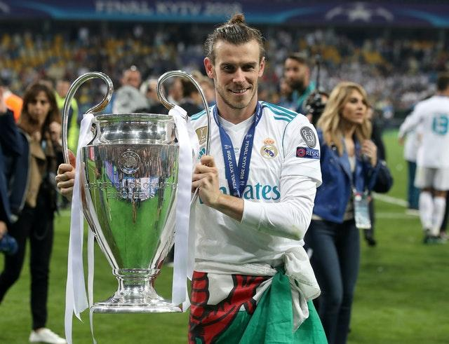Gareth Bale celebrates the victory of his fourth Champions League in 2018