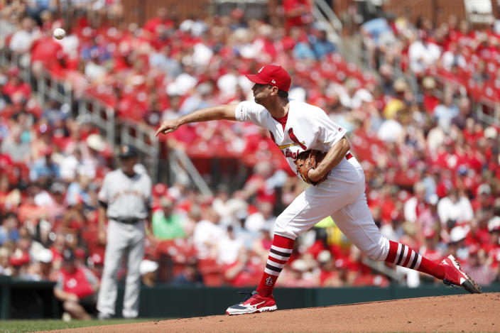 St. Louis Cardinals starting pitcher Adam Wainwright throws during the first inning of a baseball game against the San Francisco Giants Monday, Sept. 2, 2019, in St. Louis. (AP Photo/Jeff Roberson)