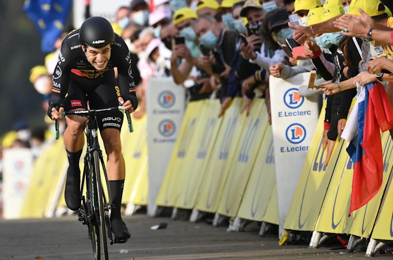 Team Jumbo rider Belgiums Wout van Aert rides during the 20th stage of the 107th edition of the Tour de France cycling race a time trial of 36 km between Lure and La Planche des Belles Filles on September 19 2020 Photo by Marco BERTORELLO AFP Photo by MARCO BERTORELLOAFP via Getty Images