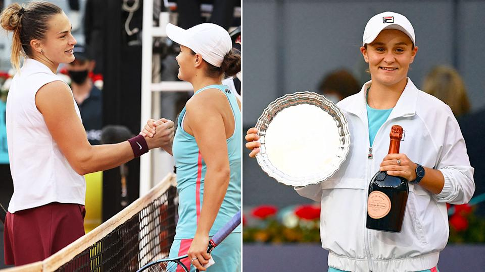 Pictured here, Ash Barty was all class after her loss to Aryna Sabalenka in the Madrid Open final.