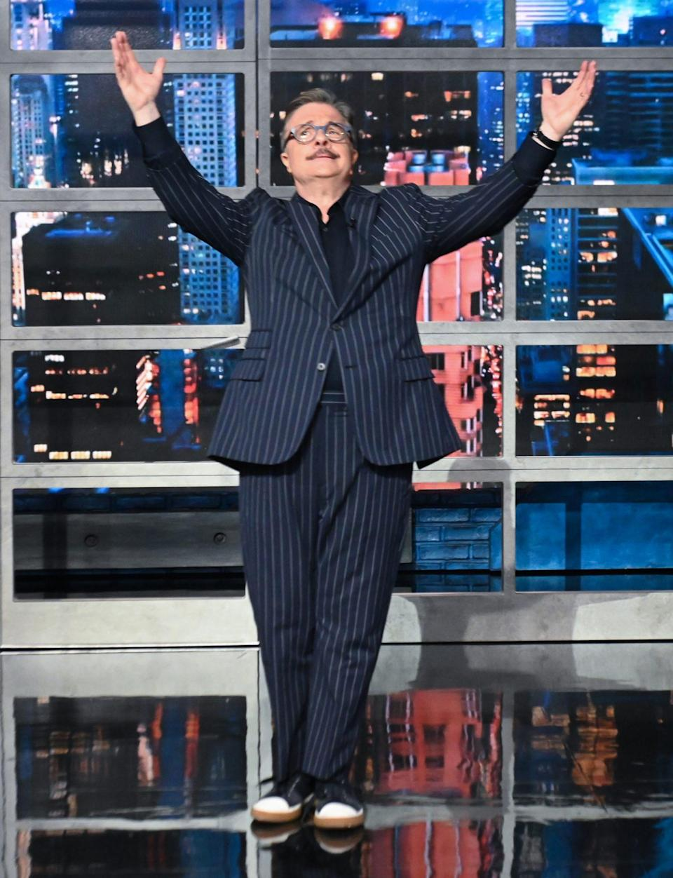 <p>Nathan Lane makes his grand entrance on <em>The Late Show with Stephen Colbert</em> on June 17 in N.Y.C.</p>