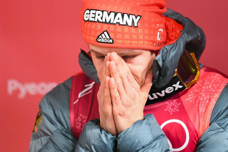 <p>Germany's Andreas Wellinger reacts after winning in the men's normal hill individual ski jumping event during the Pyeongchang 2018 Winter Olympic Games on February 10, 2018, in Pyeongchang. / AFP PHOTO / Christof STACHE </p>