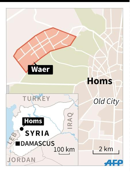 Map of Syria locating Homs and the district of Waer, evacuated by rebel forces on Wednesday. 45 x 60 mm (AFP Photo/Thomas Saint-Cricq, Sabrina Blanchard, Jonathan Storey)